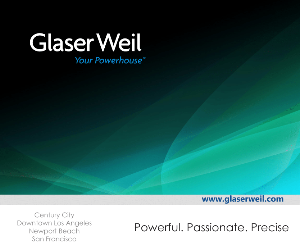 Abstract background image, with Glaser Weil logo and tagline