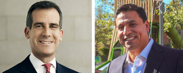 Photos of Eric Garcetti and Jose Huizar