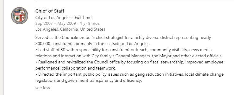 A screenshot of Peter Hidalgo's LinkedIn page entry about his stint for a LA City Councilmember