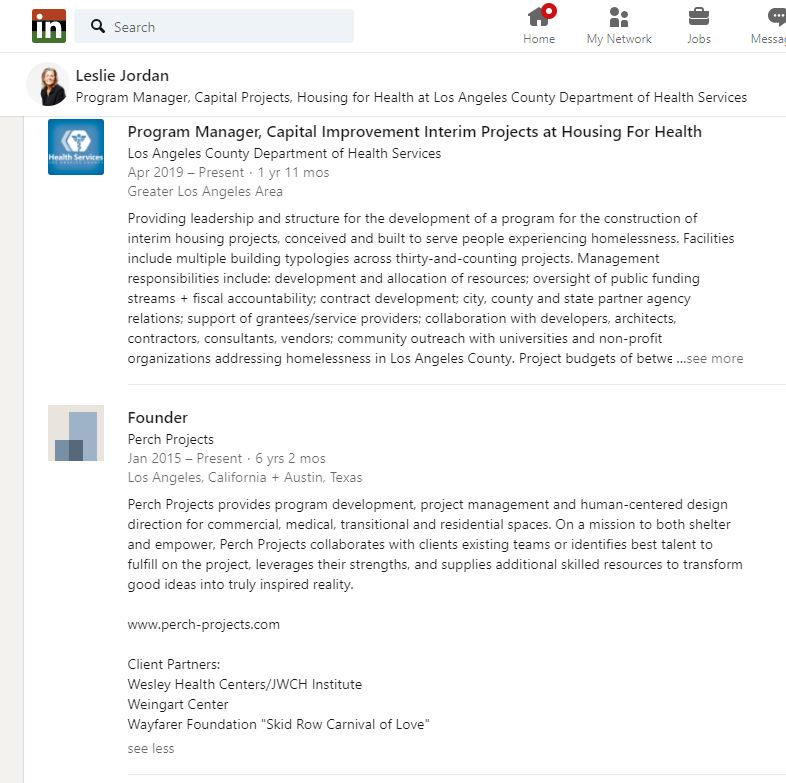 A screenshot of part of Jordan's Linkedin page that lists select clients of Perch Projects