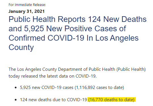 A screenshot of the Department of Public Health press release