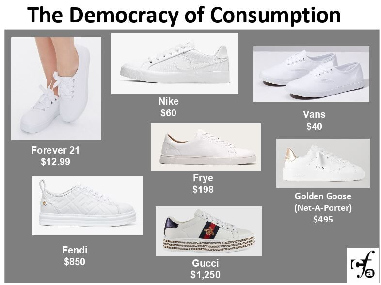 A slide from Metchek's presentation illustrating the democracy of consumption