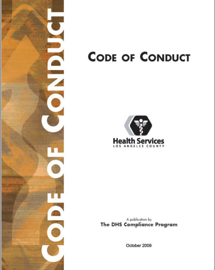 The cover of the LA County DHS Code of Conduct document