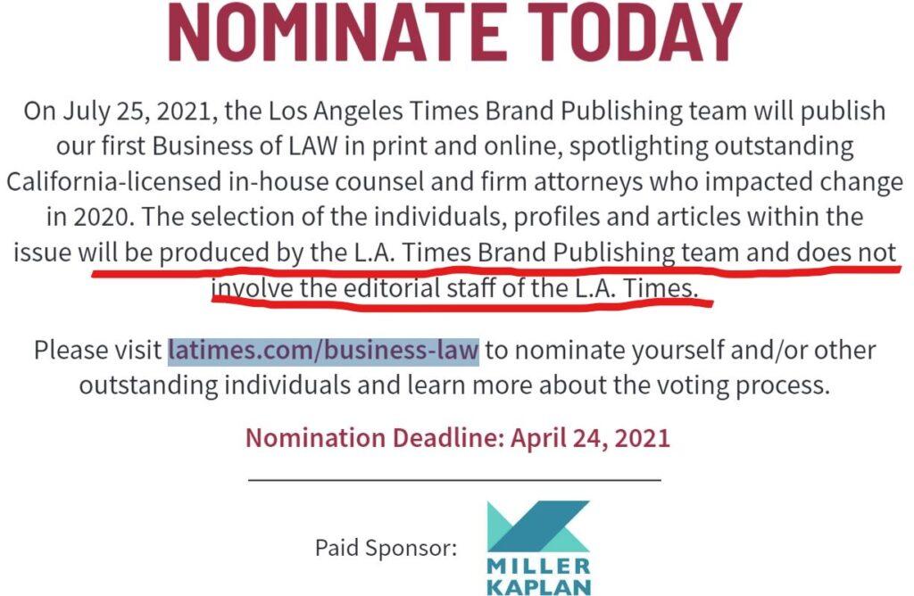 A screenshot of an LA Times ad