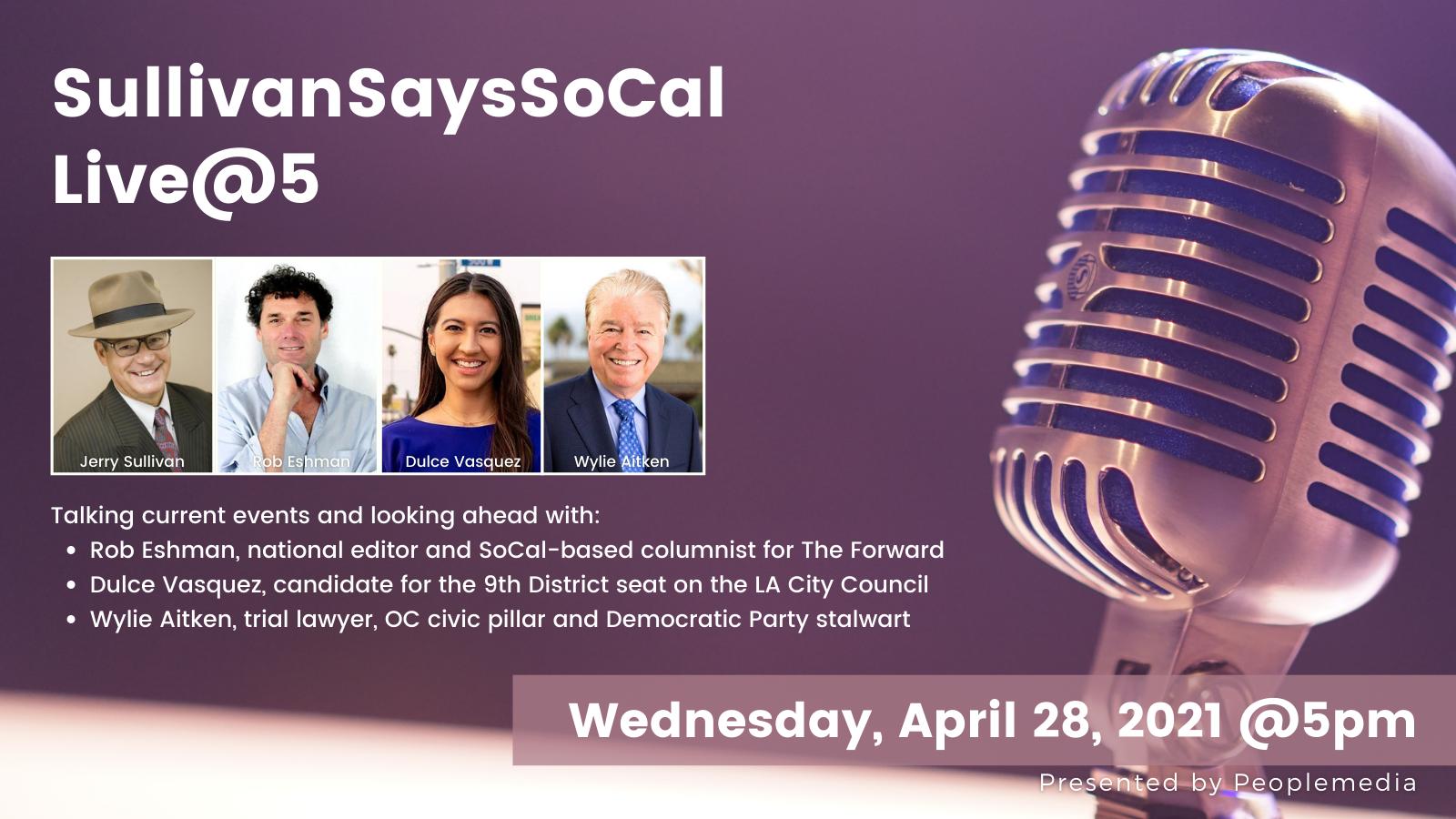 A flyer announcing the April 28 Live@5, with photos of Sullivan, Eshman, Vasquez and Aitken