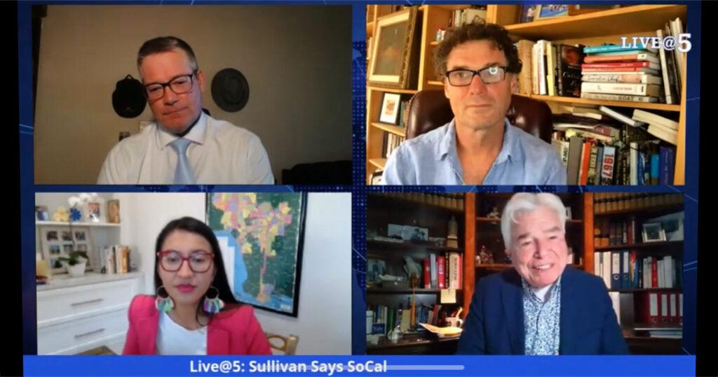 A screenshot from LIVE@5 with Sullivan, Eshman, Vasquez and Aitken on screen