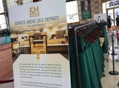 A photo of a rack of aprons at F&M Bank